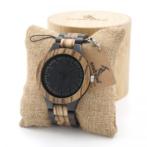BOBO Bird Mens Wooden Watch Walnut Black Tirana