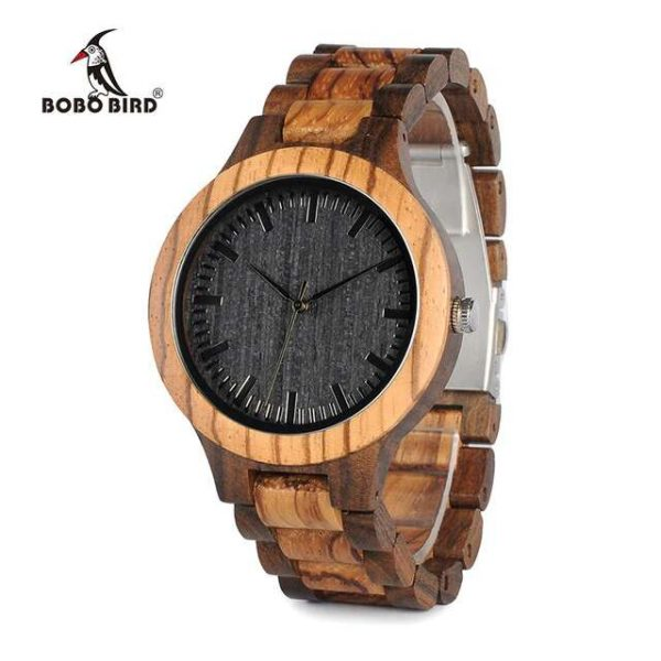 BOBO Bird Mens Wooden Watches Walnut Black Tirana 8