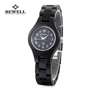 bewell astana womens wooden watch beech ebony black wood strap analog quartz