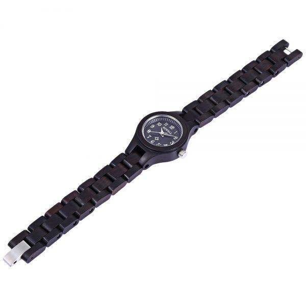 bewell astana womens wooden watch beech ebony black wood strap analog quartz