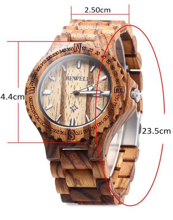 bewell lisbon mens wooden watch red sandalwood beech ebony zebra wood strap analog quartz