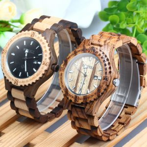 bewell lisbon mens wooden watch red sandalwood beech ebony zebra wood strap analog quartz