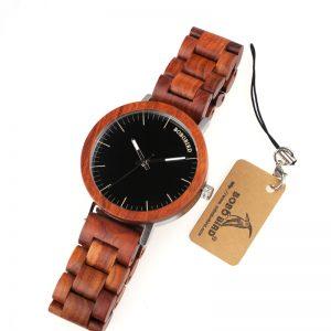 bobobird mens wooden watch red sandalwood wood strap analog quartz