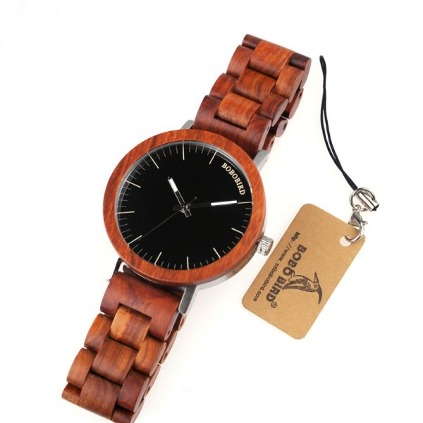 bobobird mens wooden watch red sandalwood wood strap analog quartz