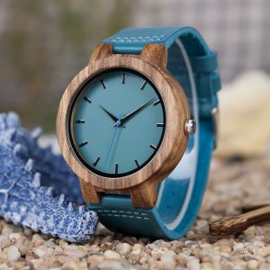 bobobird pristina womens ladies wooden watch blue bamboo wood strap analog quartz uk