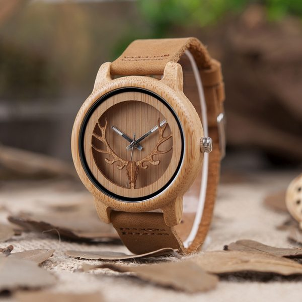 bobobird riga womens ladies wooden watch bamboo deer wood strap analog quartz uk
