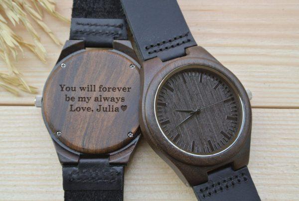 custom engraved wooden watch personalised