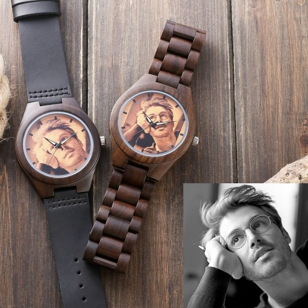 personalised photo wooden watch with picture bamboo uk