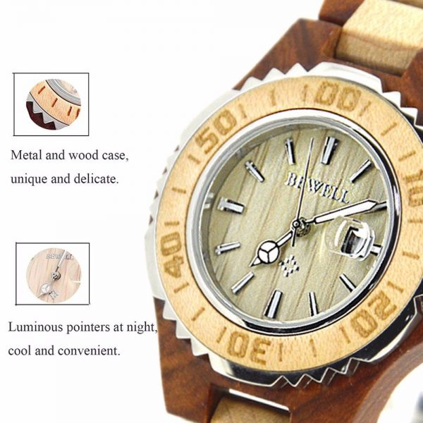 Bewell Ostrava Womens Wooden Watch UK 8