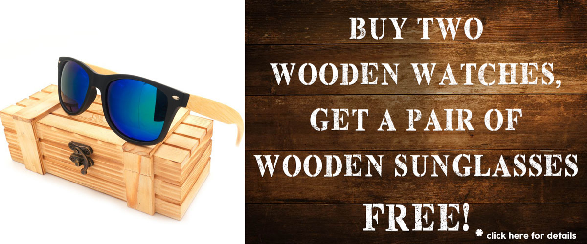 Buy 2 wooden watches get wood sunglasses free
