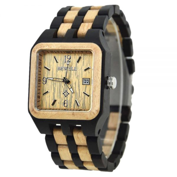 Bewell Chicago Mens Wooden Watch UK 1