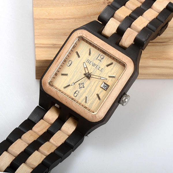 Bewell Chicago Mens Wooden Watch UK 3