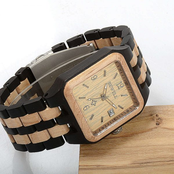 Bewell Chicago Mens Wooden Watch UK