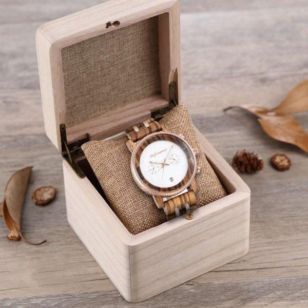 Shifenmei Palermo Mens Wooden Watch And Box Zebrawood