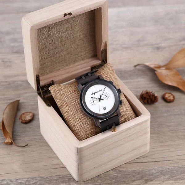 Shifenmei Palermo Mens Wooden Watch And Box Black