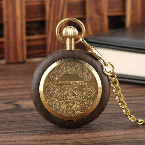 Shuhang Mahogany Wooden Pocket Watch Back