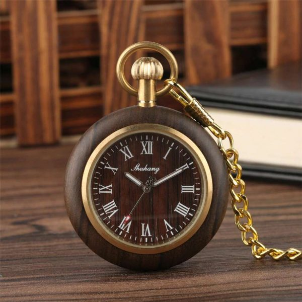 Shuhang Mahogany Wooden Pocket Watch Front
