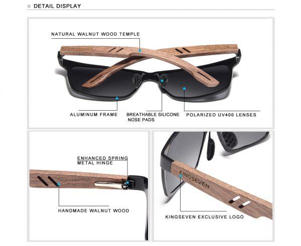 KingSeven Ohio Mens Wooden Sunglasses UK 4