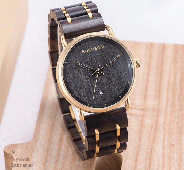 The Khartoum Mens Engraved Wood Watch UK 10